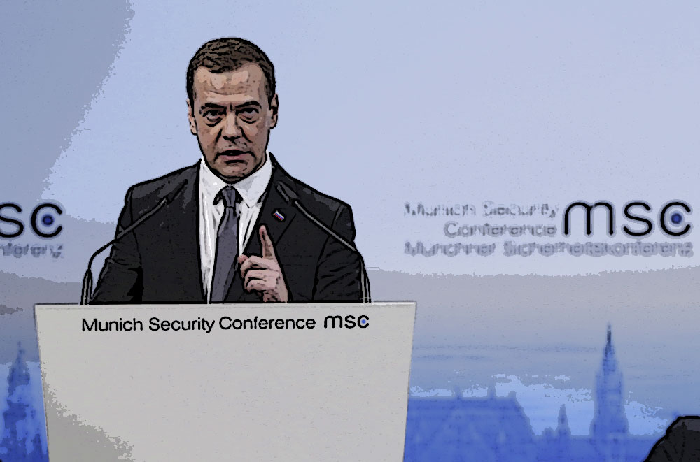 Russian Prime Minister Dmitry Medvedev delivers a speech at the Munich Security Conference in Munich, Germany, Feb. 13, 2016.