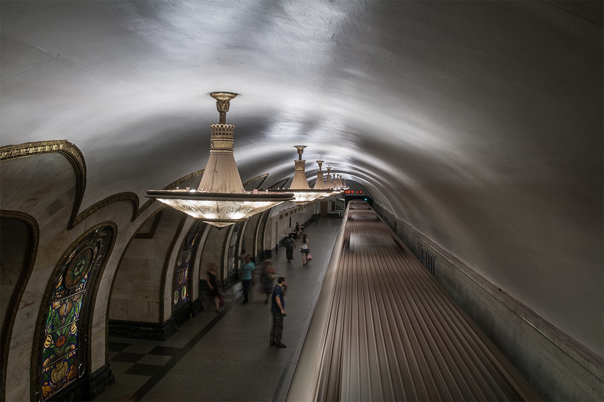 It is sometimes hard to tell whether the Moscow subway is a means of transportation or a museum of Soviet architecture.