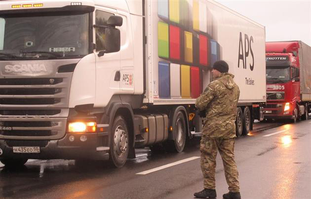 Russian trucks have now been stopped in Ukraine since Feb. 11.