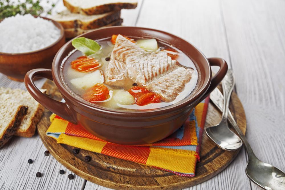Salt and fresh salmon make a great choice for ukha