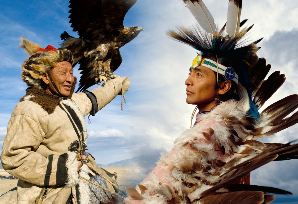 Man at the Altai Eagle Festival and Native American Indian man. Outdoor portrait profile.