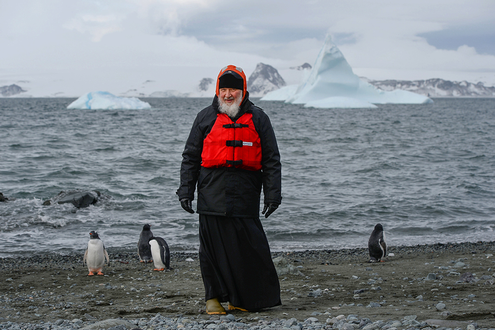 Patriarch of Moscow and All Russia Kirill, center, during a visit to the Russian Bellingshausen polar station on King George island in Antarctica. 02/18/2016