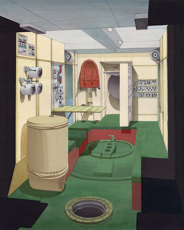 A sketch of the interior of the Mir space station. The different colored zones allow cosmonauts in state of weightlessness to easily determine where the ceiling and the floor are.