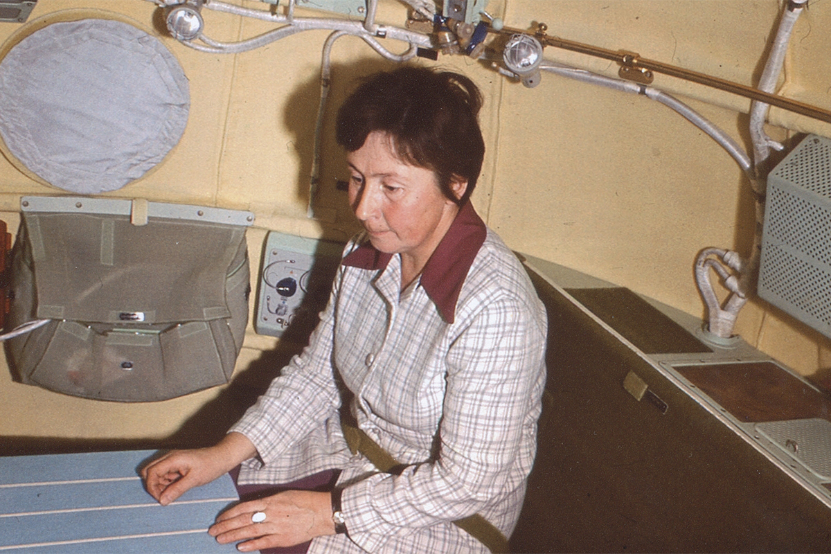 Galina Balashova was a secret Soviet architect and among first in the world to design spaceship interiors. / Galina Balashova in a model of a spaceship.