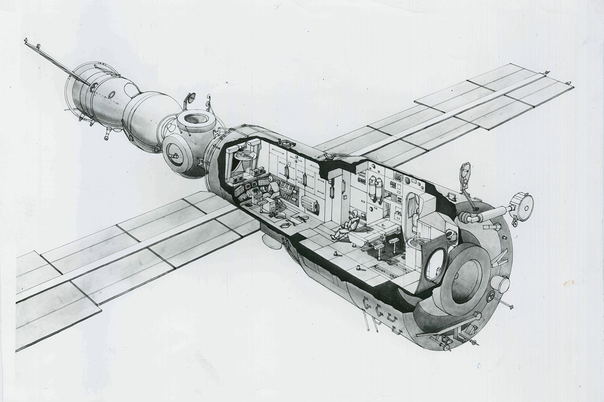 "The ""Design for the Soviet space programme"" exhibition at the German Architecture Museum was devoted to Galina Balashova's works. On display were models of spaceships, pictures, sketches, drafts, and watercolor drawings."
