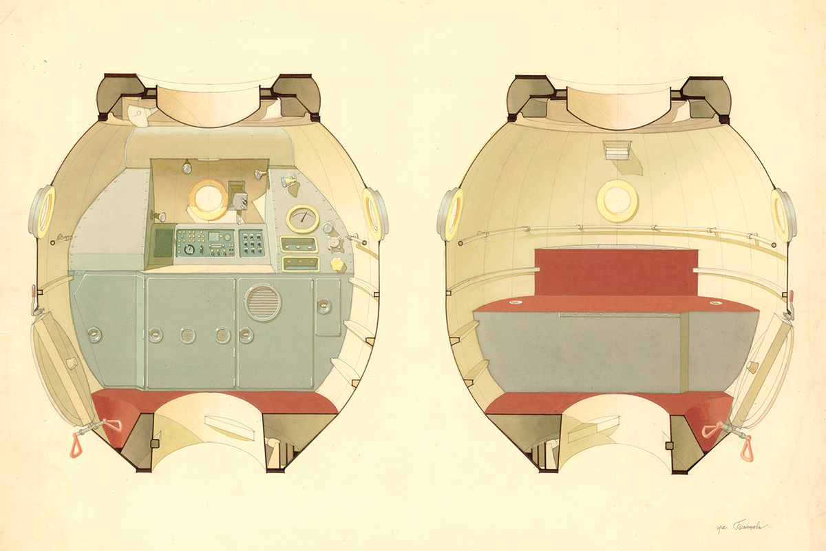 "Galina's works have been printed in a monograph entitled ""Galina Balashova. Architect of the Soviet Space Programme"". They include plans and engineering drawings for Soyuz capsules and the space stations Salyut and Mir. / Sketch of a habitable module for the Soyuz-M spacecraft."