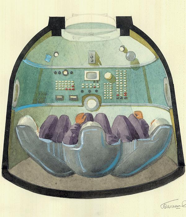 Cianotipo de la nave espacial de Soyuz. Sus esbozos a menudo se firmaban aunque fueran confidenciales.