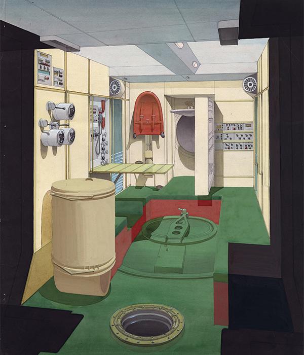 Innenraum der Mir-Raumstation. Die Flächen sind in unterschiedlichen Farben gehalten, damit der Kosmonaut in der Schwerelosigkeit oben und unten unterscheiden konnte.