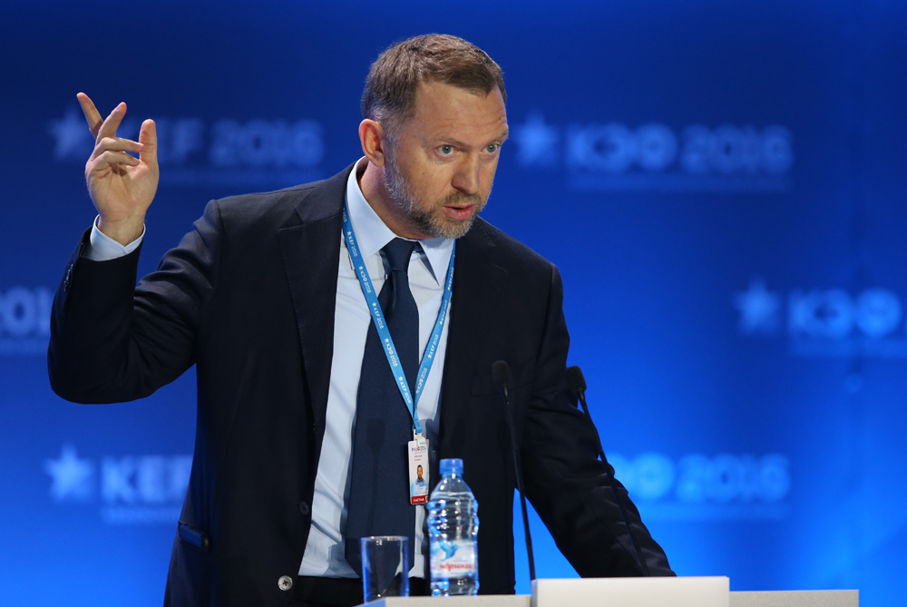 "Rusal President Oleg Deripaska speaks during a panel discussion titled ""Russia – Asia. Increasing the Flow of Mutual Investment"" as part of the 2016 Krasnoyarsk Economic Forum."