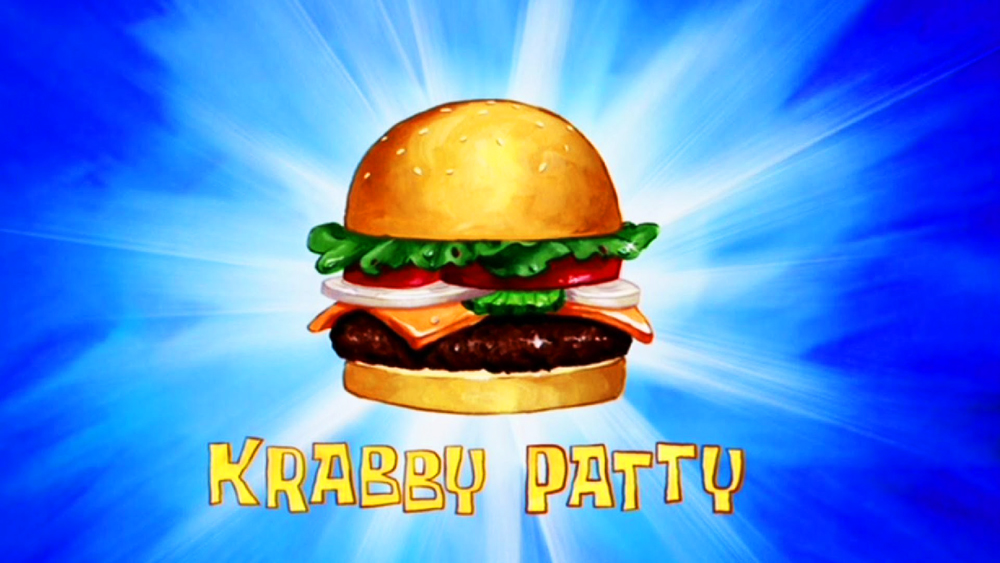 A Krabby Patty burger.