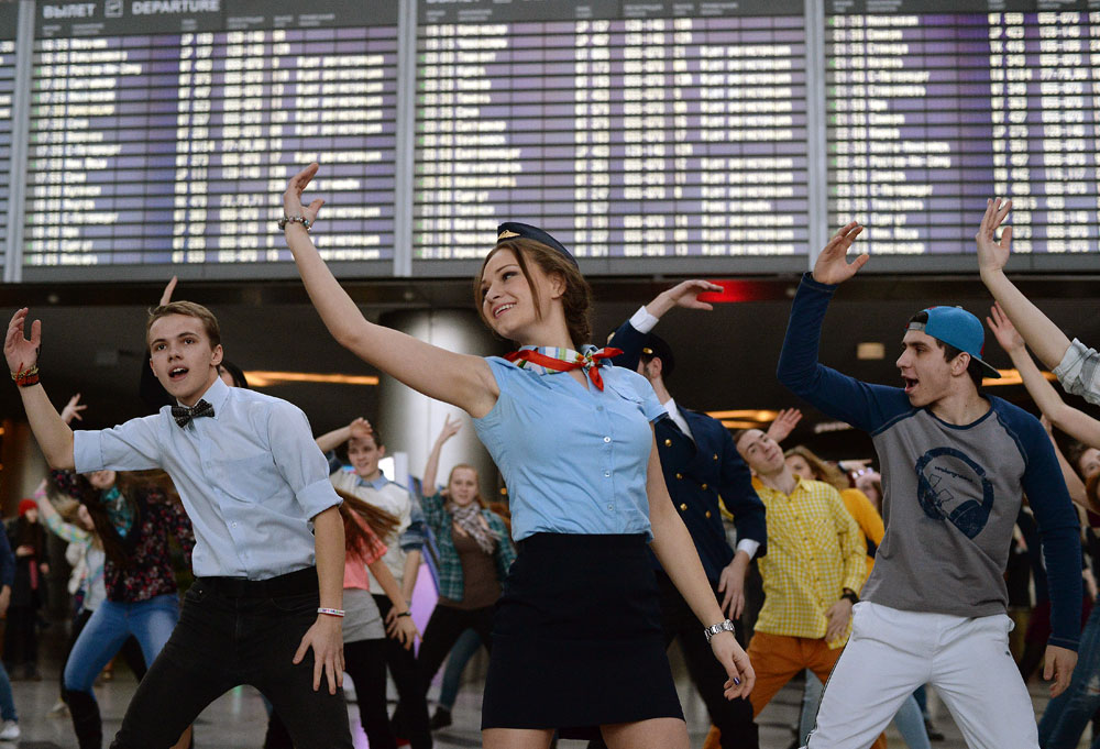 Participants in the Dance Moscow dance campaign at Vnukovo Airport
