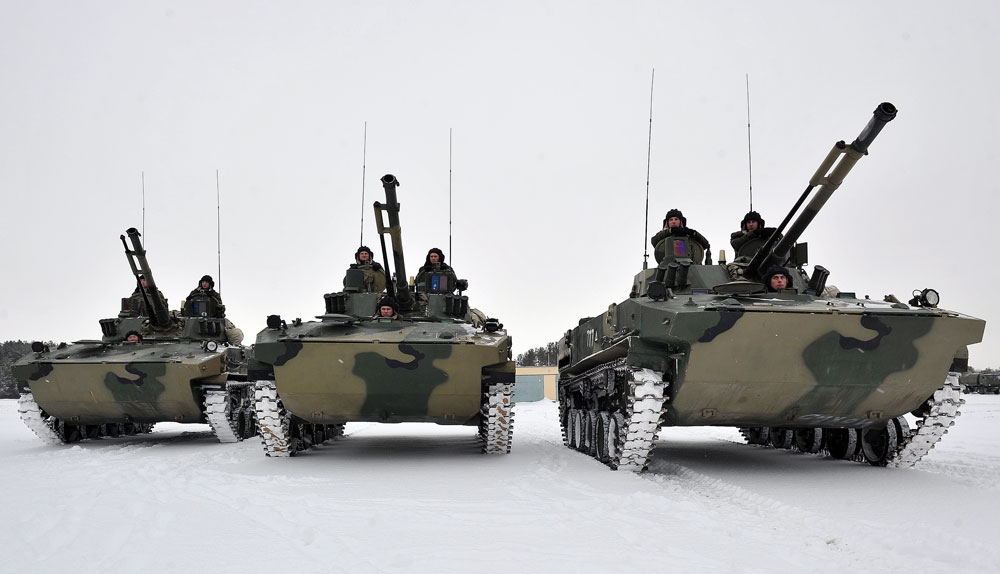 BMD-4 Bakhcha airborne combat vehicles.