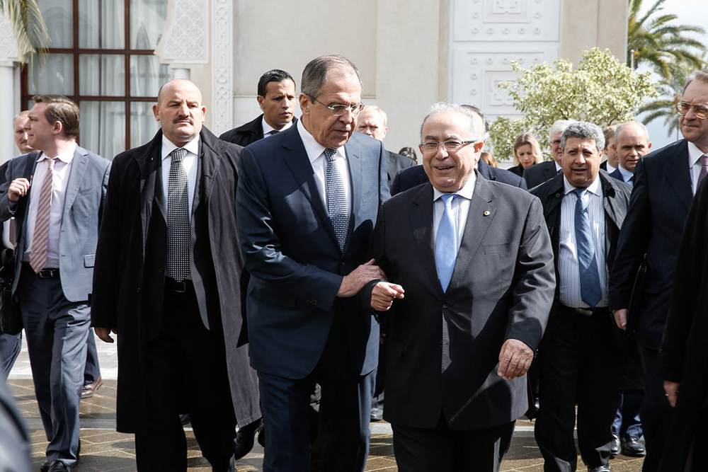 Russian Foreign Minister Sergei Lavrov with his Algerian counterpart Ramtane Lamamra.