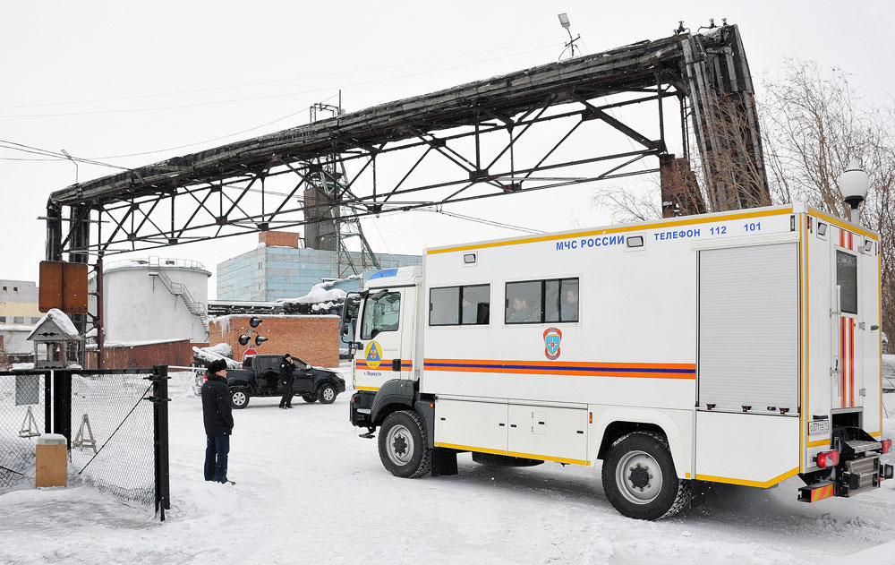 An EMERCOM truck on duty at Vorkuta's Severnaya coal mine.