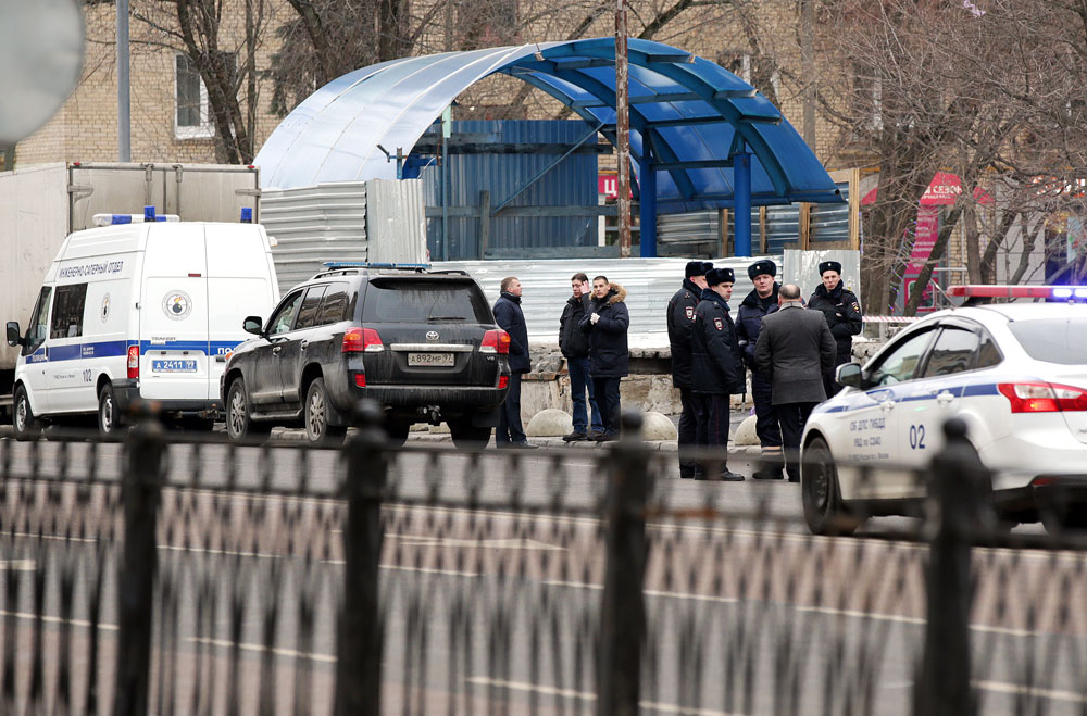 Police officers seen near Oktyabrskoye Pole Station on the Tagansko-Krasnopresnenskaya Line of the Moscow Metro where a woman suspected of killing a 4-year-old child was detained.