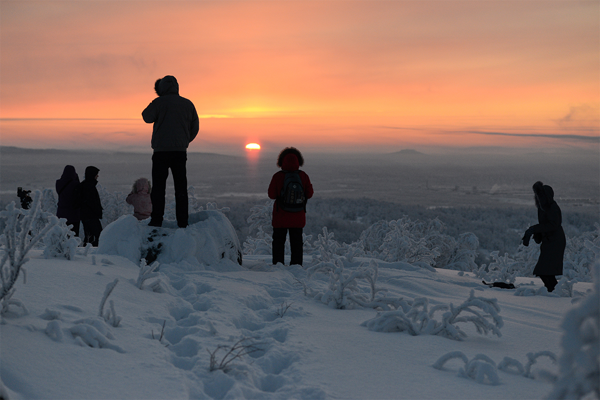 "The end of the polar night is celebrated here twice. The first celebration is called ""The first sunlight"" – Murmansk residents head to a local mountain to see the first sunrise in 40 days. This year it happened at 12:39 Moscow time and the sun was up for just 34 minutes."