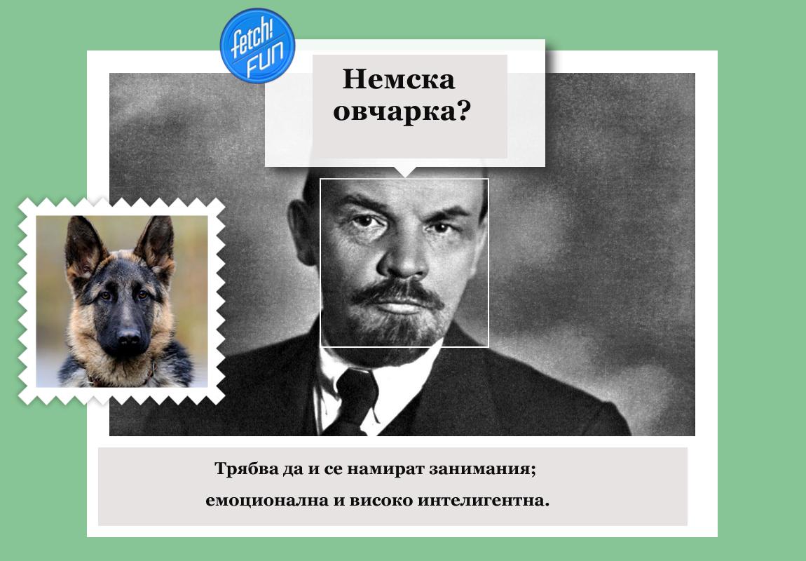 Владимир Ленин (руски комунистически революционер, политик и политически теоретик) като немска овчарка.