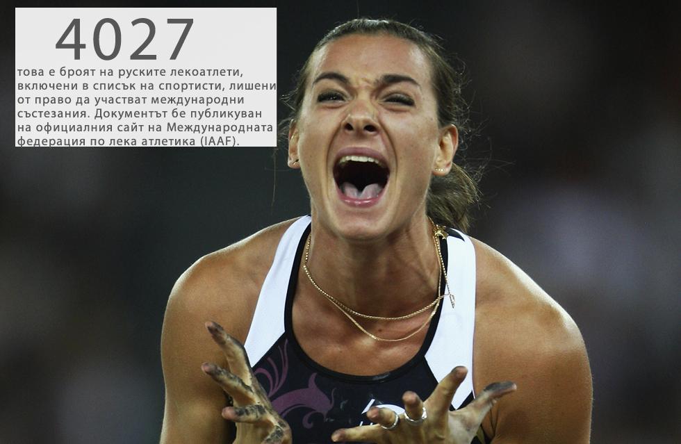 Списъкът е базиран на данни, получени от Световната антидопингова агенция (WADA), и в него няма изключения: сред отстранените от състезания лекоатлети има световноизвестни олимпийци като двукратната носителка на олимпийско злато и трикратна световна шампионка Елена Исинбаева, която се смята за най-добрата женска състезателка по овчарски скок в историята.История:На 9 ноември независимата комисия на WADA публикува доклад, в който обвинява руските власти, че са прикривали положителни допинг тестове на лекоатлети. На 13 ноември, по препоръка на WADA, Съветът на Международната федерация по лека атлетика (IAAF) реши временно да отстрани Русия от състезанията, организирани под нейната егида, включително от Олимпийските игри в Рио де Жанейро през 2016 година.
