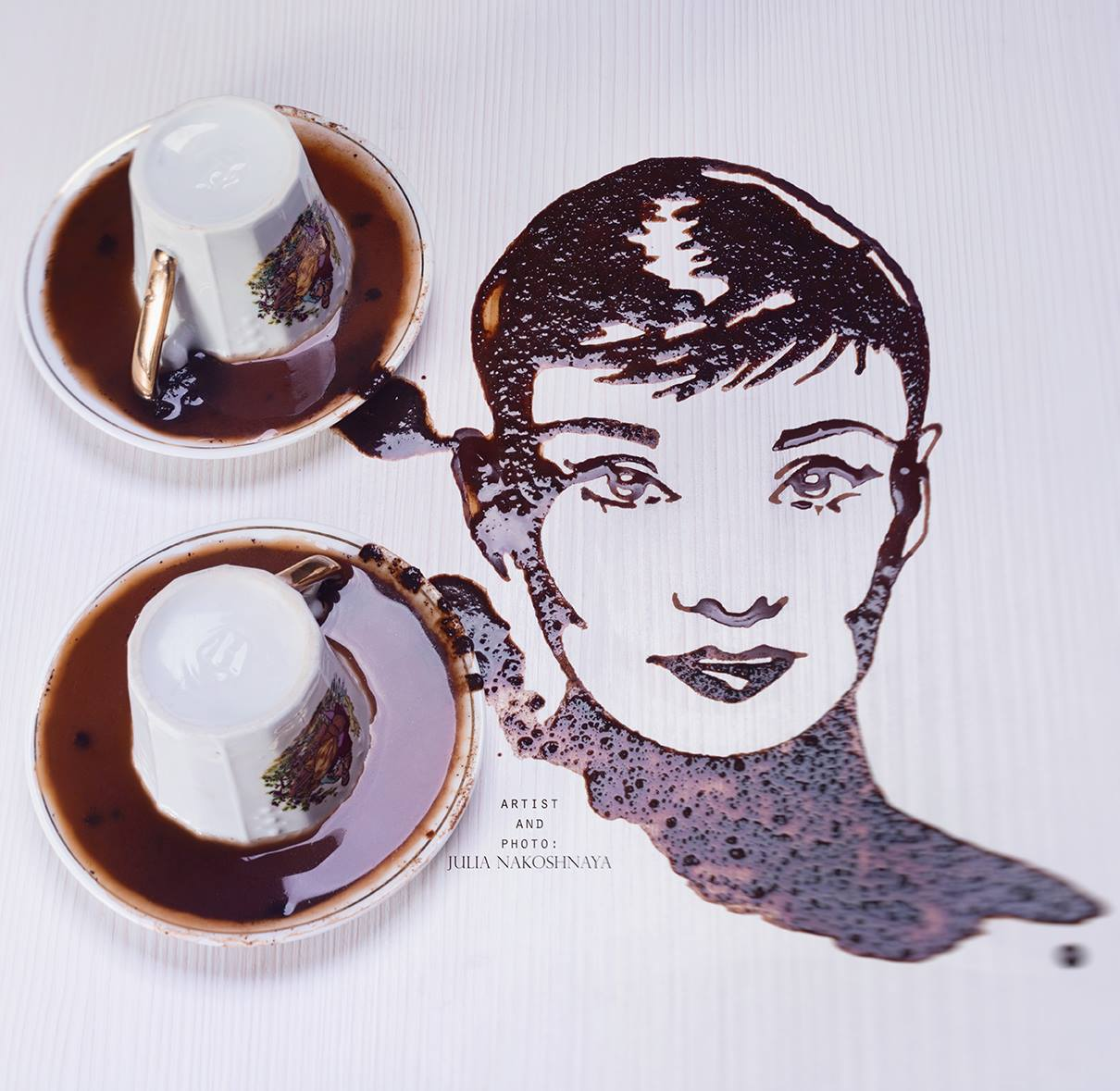 Audrey Hepburn — in a coffee version.