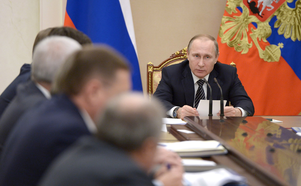 President Vladimir Putin during the meeting on development of the oil sector.