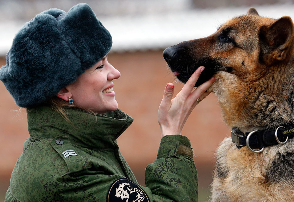 K-9 Officer Sergeant Yevgeniya Shvetsel with a German Shepherd dog named Zhasmin at the canine training center of the North Caucasus regional command of the Russian Interior Ministry's Internal Troops. Rostov region
