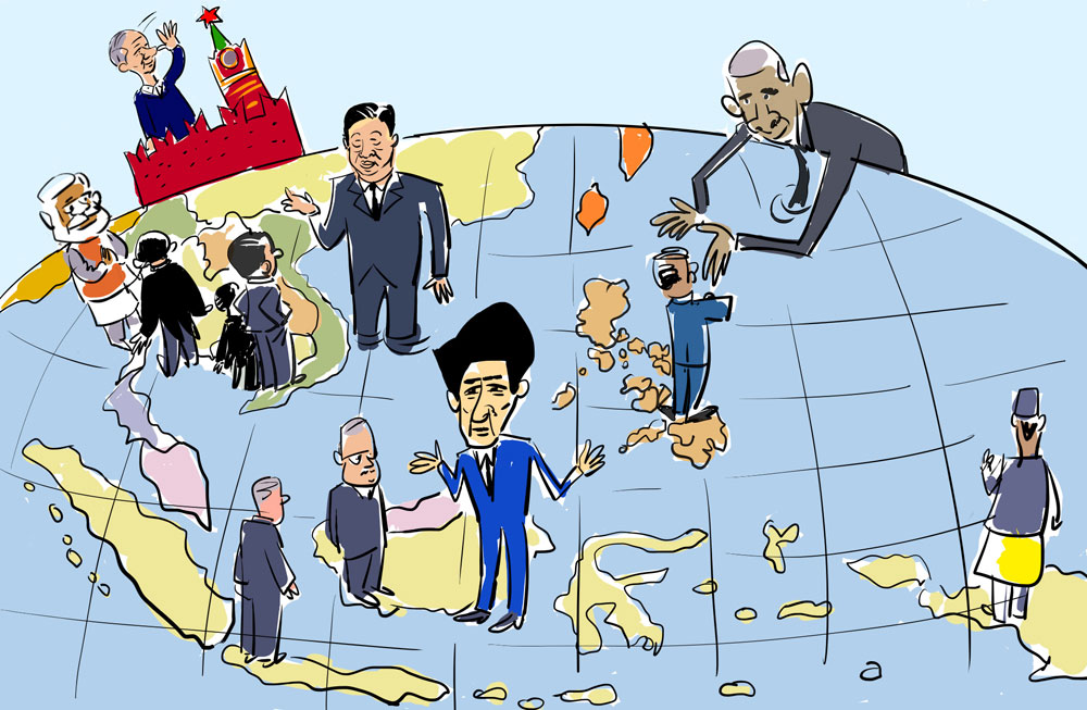 The Kremlin seems to be distant from ASEAN leaders. Drawing by Iorsh