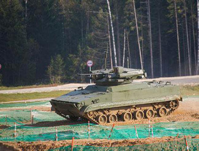 Sistema robu00f3tico multifuncional de combate basado en el vehu00edculo de infanteru00eda BMP-3. Estu00e1 diseu00f1ado para labores de reconocimiento en cualquier momento del du00eda, detecciu00f3n de minas, evacuaciu00f3n del personal herido y apoyo a las tropas. El sistema cuenta con un cau00f1u00f3n automu00e1tico de 30 mm, una lanzagranadas automu00e1tico, una metralleta de 12,7 mm y un sistema de misiles antitanque.