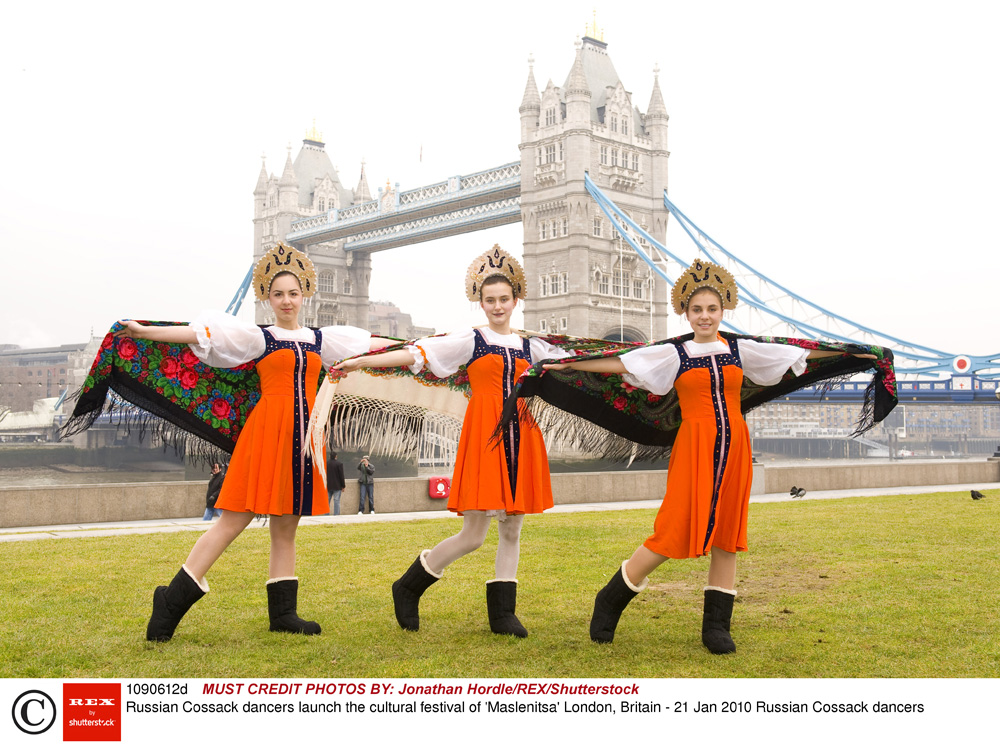Russian folk dancers launched Maslenitsa annual festival, London, 2010.
