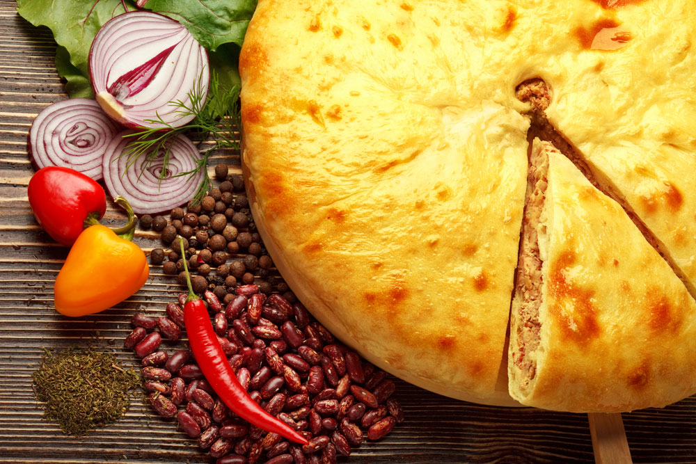Ossetian pie is made with all kinds of stuffing — cheese, potatoes, or mushrooms.