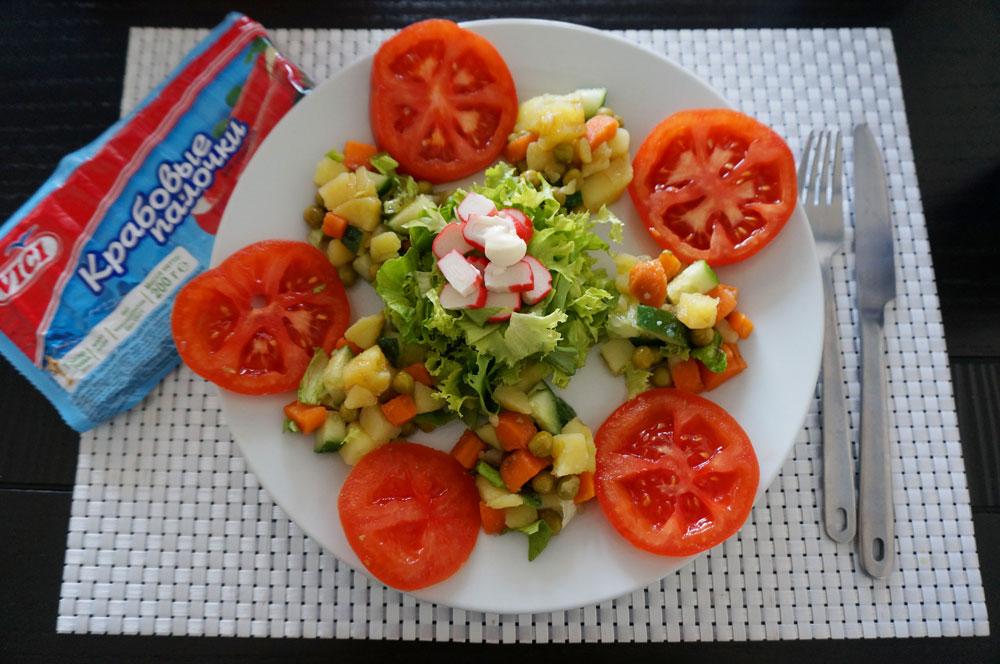 Crab stick salad.