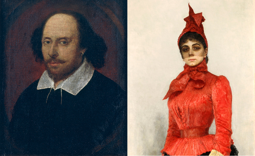 Portrait of William Shakespeare by John Taylor(L), Ilya Repin. Portrait of Baroness Varvara Ikskul von Hildenbandt.