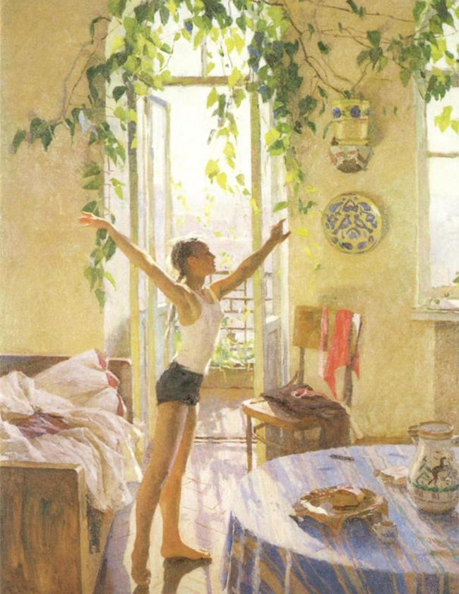 """Тази картина показва красотата на най-обикновения и непретенциозен израз на ежедневието, който обяснява усета на Татяна Яблонска за откритото пространство, цветните тонове, въздушната атмосфера и ярката светлина. / Татяна Яблонска, """"Утрото"""", 1954 г."""