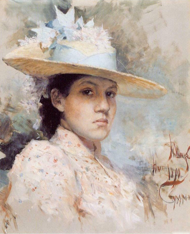 Maria Shpak-Benua painted a self-portrait at 20 years old and died just a year later. In her lifetime she was famous for her sketches, watercolor panels and glass staining, and also was as a pianist, which gives an indication of the diversity of her talents. / Maria Shpak-Benua, Self-portrait, 1890.