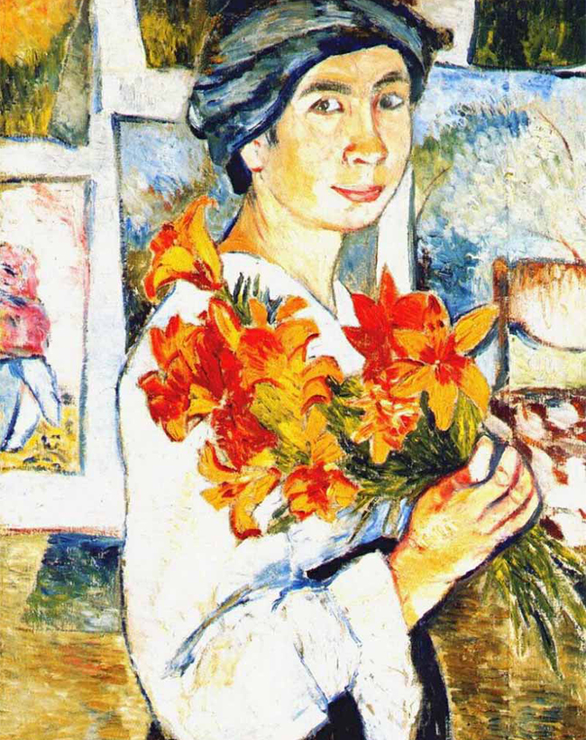 Natalia Goncharova's avant-garde paintings are the most expensive of any female artist in history. / Self-portrait with Yellow Lilies,  Natalia Goncharova, 1907.