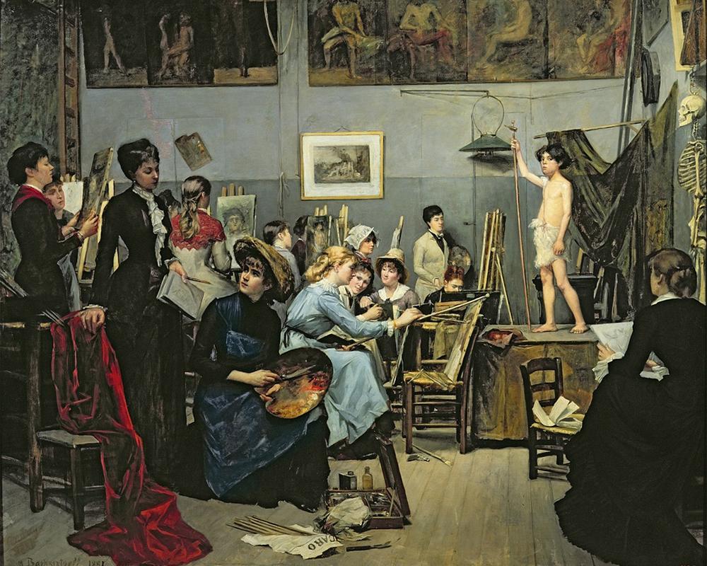 """Студио в Париж, основано през 1868 г. и известно като """"Академия Жюлиен"""", е кръстено на неговия основател – художникът Жюлиен Родолф. Мария Башкирцева учи там и нарича Жюлиен свой """"духовен баща"""". / Мария Башкирцева, """"В студиото на Жюлиен"""", 1881 г."""
