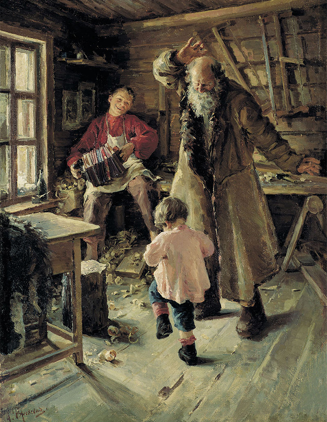 A very famous and optimistic art piece. In a poor peasant house, an old man merrily dances together with his grandson to the sound of a harmonica. / Antonina Rzhevskaya, Merry Little minute, 1897.