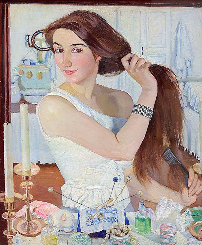 Self-portraits are a regular theme of Zinaida Serebryakova's paintings. Critics noted the clear, bright tones, and unparalleled natural beauty in her works. / Zinaida Serebryakova, By the dressing table. Self-portrait, 1909.