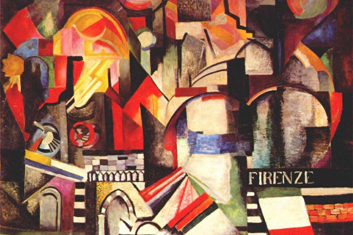 """Градът е една от водещите теми в картините на Александра Екстер през първата половина на 1910-те години. Трудно е тези творби да бъдат определени просто като градски пейзажи, тъй като те са пълни с динамични структури и геометрични форми. / Александра Екстер, """"Флоренция"""", 1914-1915 г."""