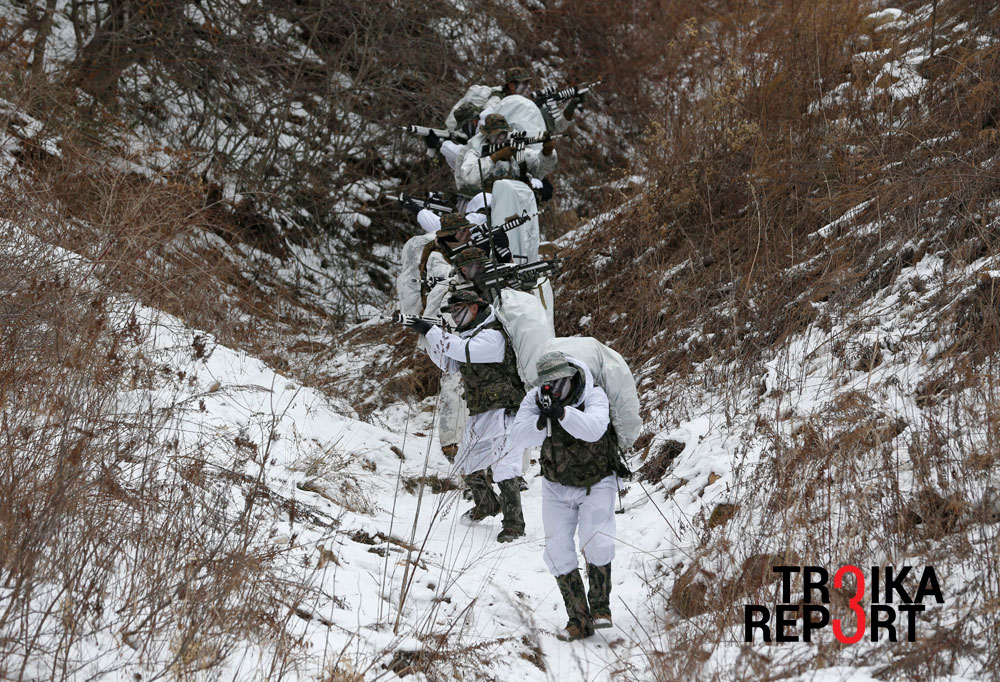 South Korean marines and U.S. Marines demonstrate in their reconnaissance mission during a combined military exercise in Pyeongchang.