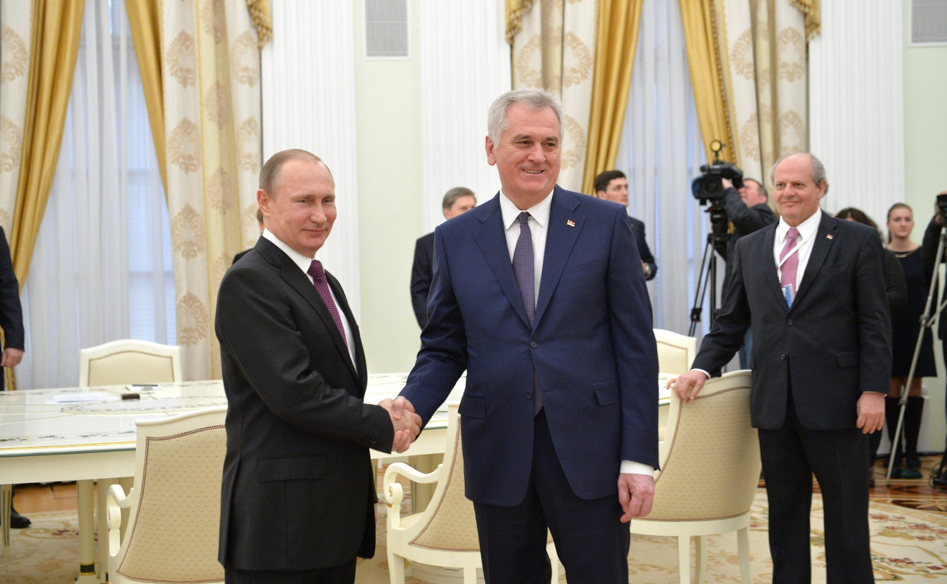 Serbian President Tomislav Nikolic met with Russian President Vladimir Putin in Moscow, March 10, 2016.