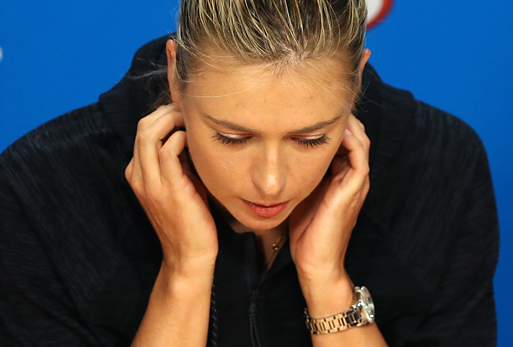Russia's Maria Sharapova pauses during a press conference, ahead of the Australian Open tennis championships in Melbourne, Australia, Saturday, Jan. 16, 2016.