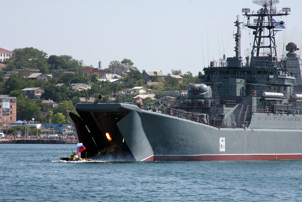 The Russian Navy's major amphibious ship Tsezar Kunikov leaves the Sevastopol harbour.