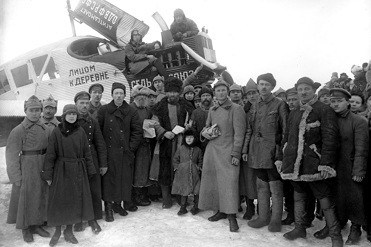 Photographic views of Galich by Smodor were well known in Russia. They were printed in the form of postcards, with editions running to many thousands. Unfortunately they never bore the name of the photographer. / Propaganda aircraft, 1931.