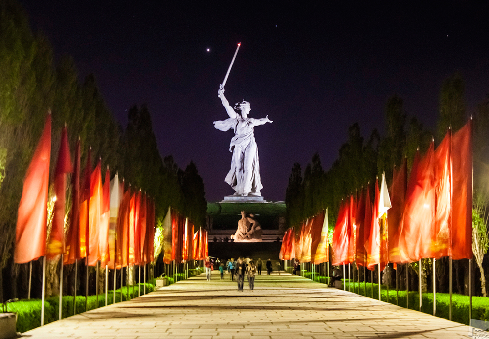 """The Motherland Calls"" statue on a hill overlooking Volgograd, Russia, on the eve of the 70th anniversary of the end of World War II. It commemorates the Battle of Stalingrad."