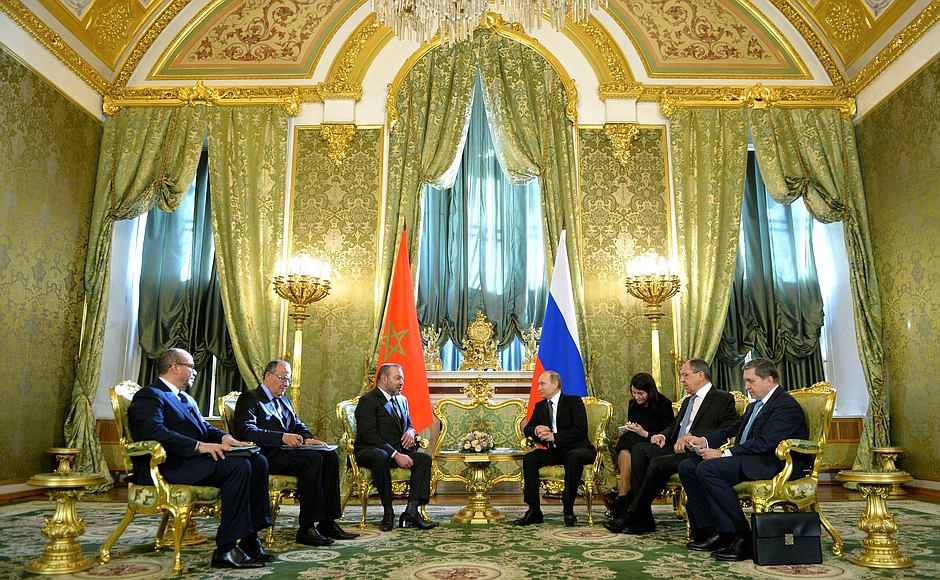 Russian President Vladimir Putin and King Mohammed VI of Morocco in Moscow, March 15, 2016.
