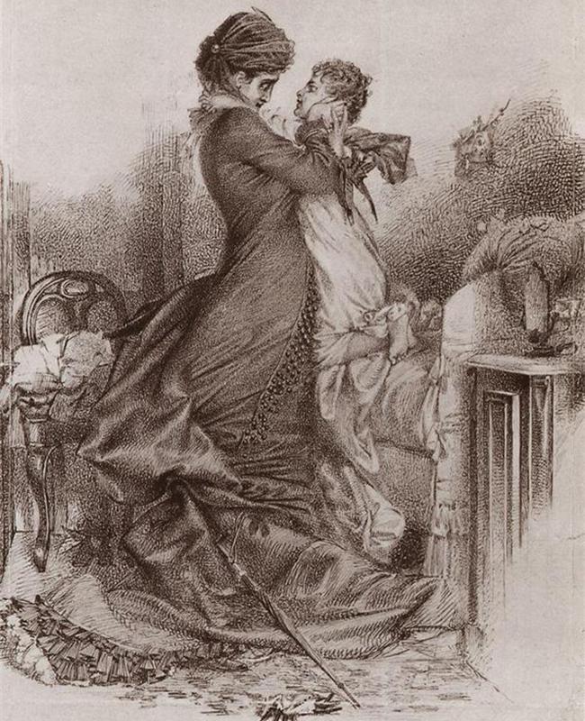 Vroubel (1856-1910), auteur de chefs-d'œuvre tels que Le Démon assis et La Princesse cygne fait probablement partie des personnalités les plus tragiques de la peinture russe. /  Anna Karénine rencontre son fils, 1878.