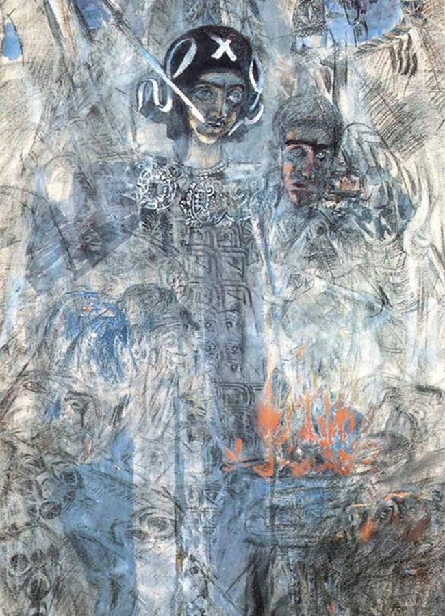 Vroubel meurt d'une pneumonie, bien que cela ressemble plus à un suicide. Il aurait passé des heures debout devant une fenêtre ouverte, entièrement nu, en plein hiver, ce qui le rend inévitablement malade. Refusant de se battre pour vivre, il décède à l'hôpital psychiatrique. / La vision du prophète Ezéchiel, 1906.