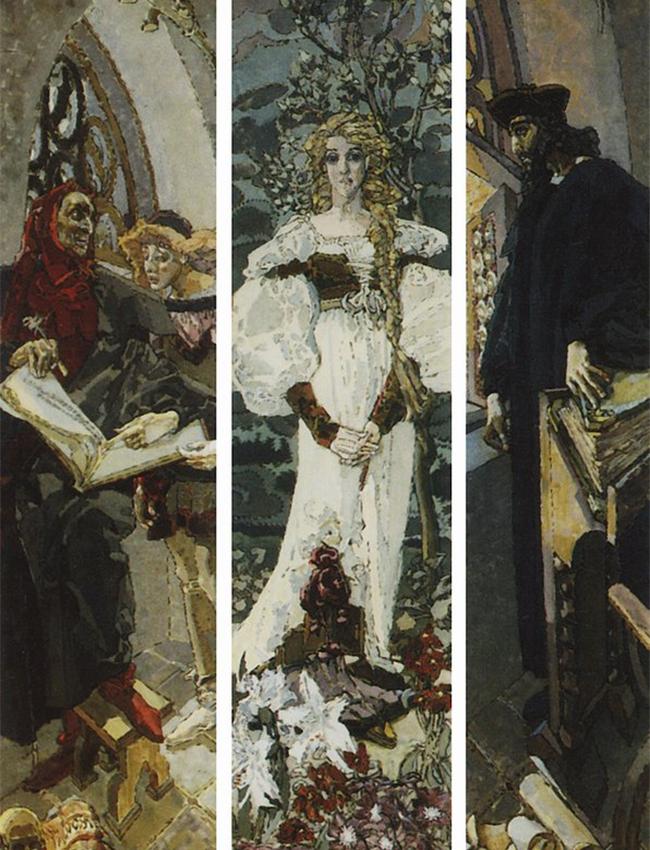 Le premier acte prend forme dans les années 1880, quand Vroubel étudie à  l'Académie impériale des beaux-arts de Saint-Pétersbourg, où il se consacre essentiellement à l'art byzantin et religieux. / Faust, 1896
