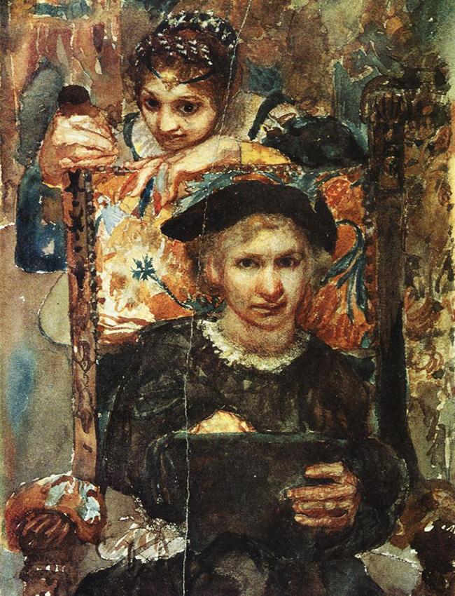 Nina Dmitrieva, critique d'art soviétique, a comparé la vie créative de Vroubel à un drame en trois actes comprenant un prologue et un épilogue, et dont la transition entre les scènes se fait de manière brusque et inattendue. / Hamlet et Ophélie, 1883.