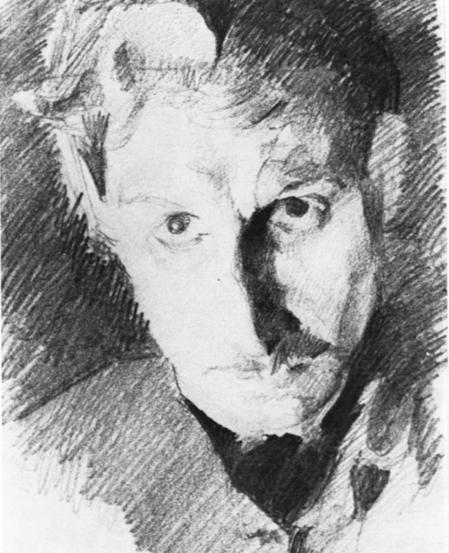 Le prologue de son existence se situe dans ses jeunes années passées à étudier et à choisir sa vocation. / Autoportrait, 1885.